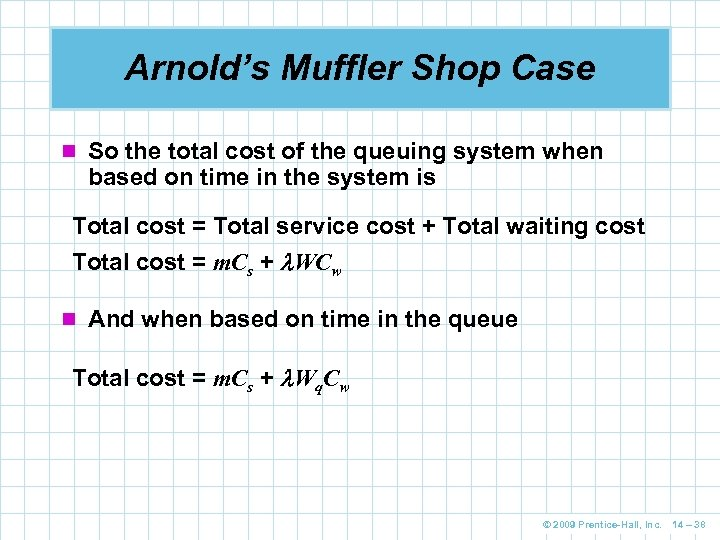 Arnold's Muffler Shop Case n So the total cost of the queuing system when
