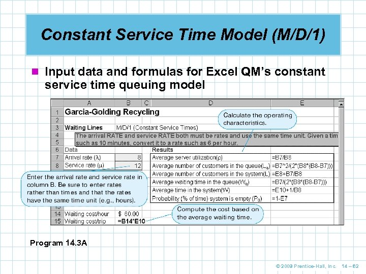 Constant Service Time Model (M/D/1) n Input data and formulas for Excel QM's constant
