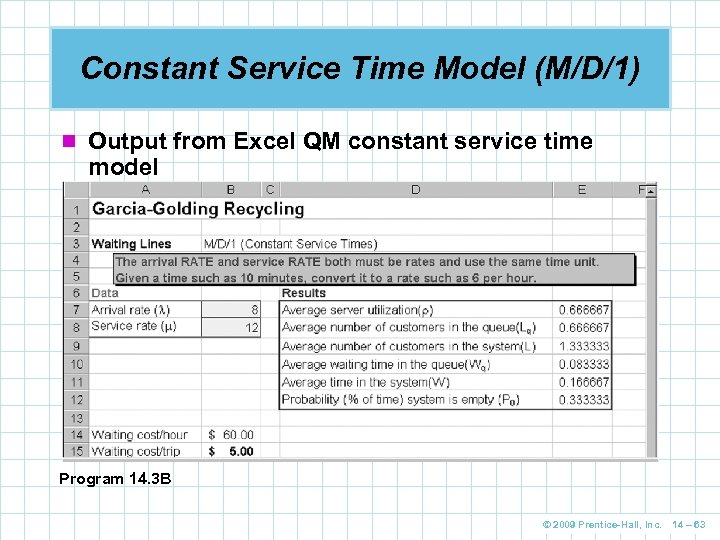 Constant Service Time Model (M/D/1) n Output from Excel QM constant service time model