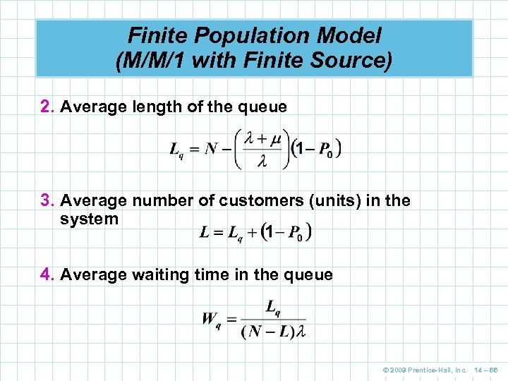 Finite Population Model (M/M/1 with Finite Source) 2. Average length of the queue 3.