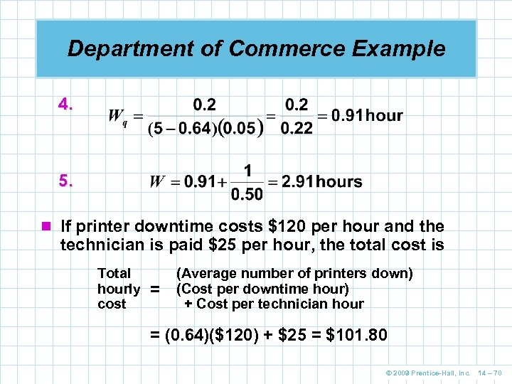Department of Commerce Example 4. 5. n If printer downtime costs $120 per hour