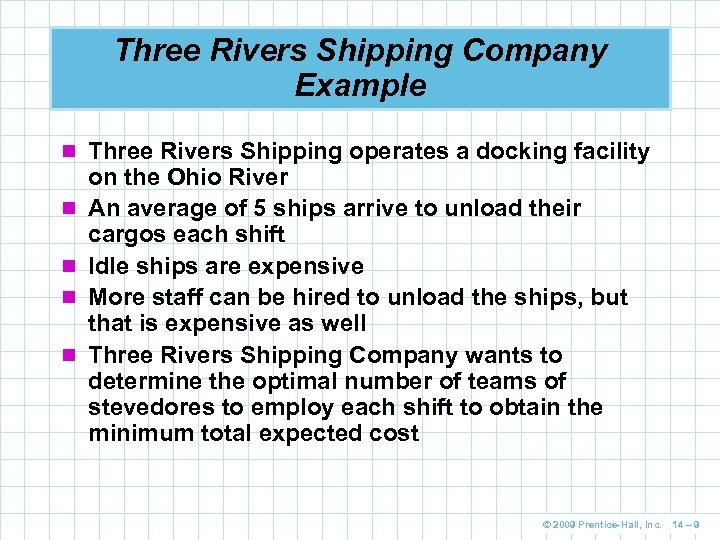 Three Rivers Shipping Company Example n Three Rivers Shipping operates a docking facility n