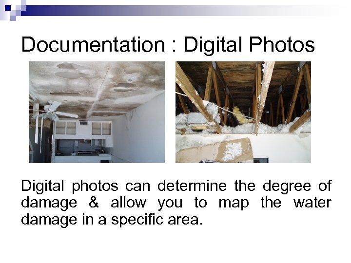Documentation : Digital Photos Digital photos can determine the degree of damage & allow