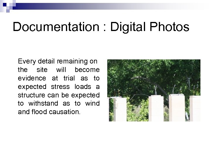 Documentation : Digital Photos Every detail remaining on the site will become evidence at
