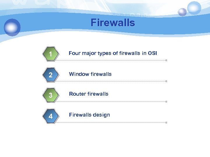 Firewalls 1 Four major types of firewalls in OSI 2 Window firewalls 3 Router