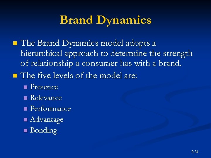 Brand Dynamics The Brand Dynamics model adopts a hierarchical approach to determine the strength
