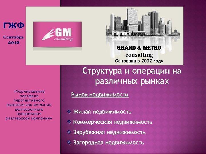 ГЖФ Сентябрь 2010 Grand & Metro consulting Основана в 2002 году Структура и операции