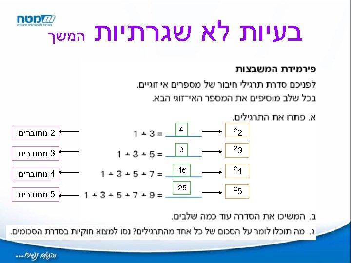 בעיות לא שגרתיות המשך 2 2 4 2 מחוברים 3 2 9 3