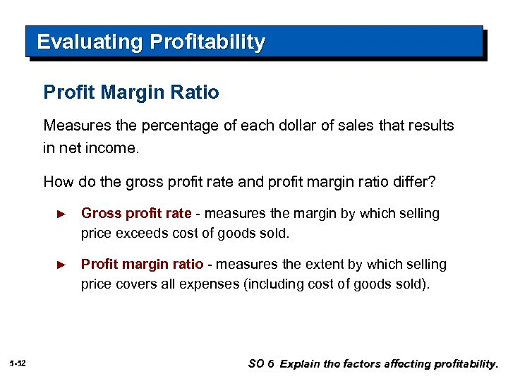 Evaluating Profitability Profit Margin Ratio Measures the percentage of each dollar of sales that