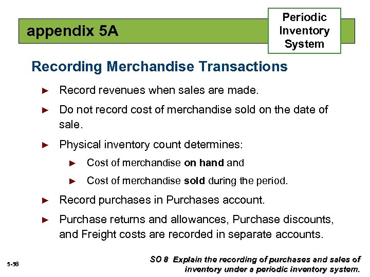 Periodic Inventory System appendix 5 A Recording Merchandise Transactions ► Record revenues when sales