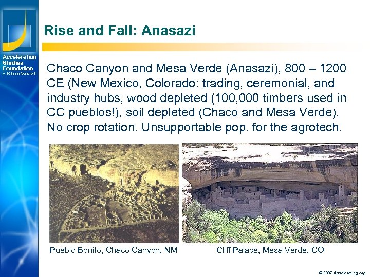 Rise and Fall: Anasazi Acceleration Studies Foundation A 501(c)(3) Nonprofit Los Angeles New York