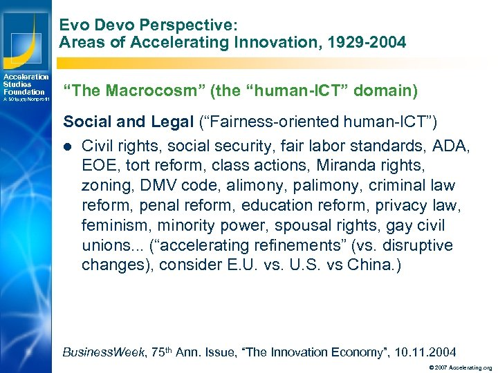 Evo Devo Perspective: Areas of Accelerating Innovation, 1929 -2004 Acceleration Studies Foundation A 501(c)(3)