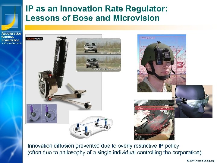 IP as an Innovation Rate Regulator: Lessons of Bose and Microvision Acceleration Studies Foundation