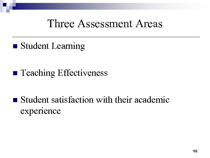 Three Assessment Areas n Student Learning n Teaching Effectiveness n Student satisfaction with their