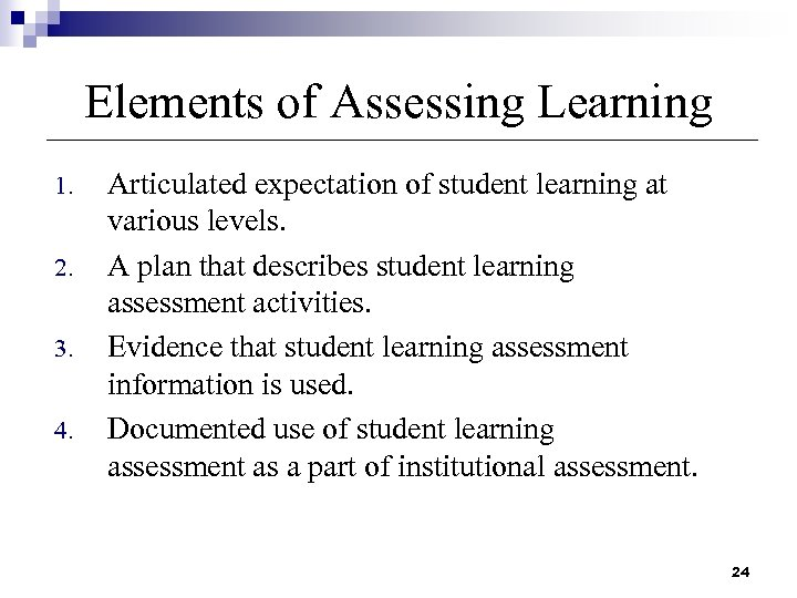 Elements of Assessing Learning 1. 2. 3. 4. Articulated expectation of student learning at