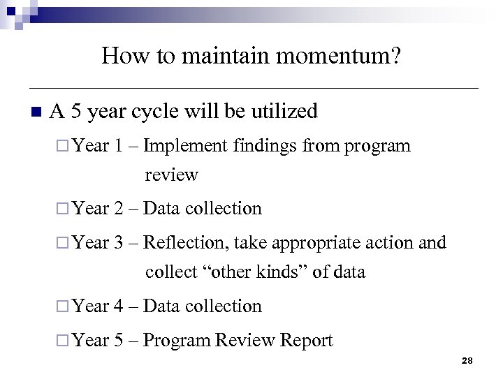 How to maintain momentum? n A 5 year cycle will be utilized ¨ Year