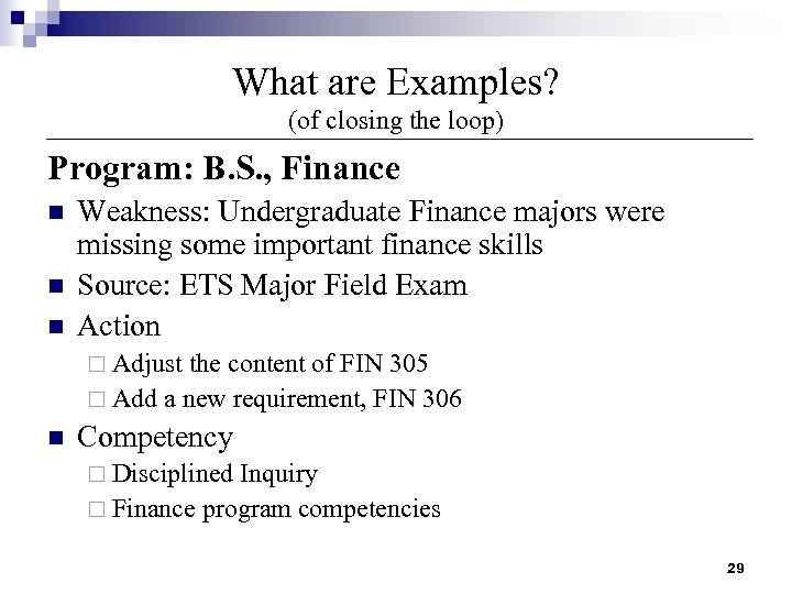 What are Examples? (of closing the loop) Program: B. S. , Finance n n