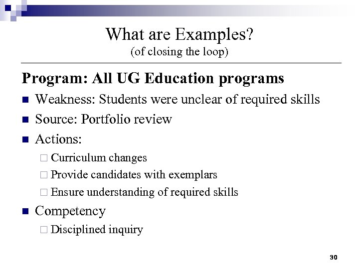 What are Examples? (of closing the loop) Program: All UG Education programs n n