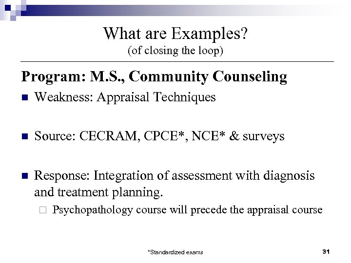 What are Examples? (of closing the loop) Program: M. S. , Community Counseling n