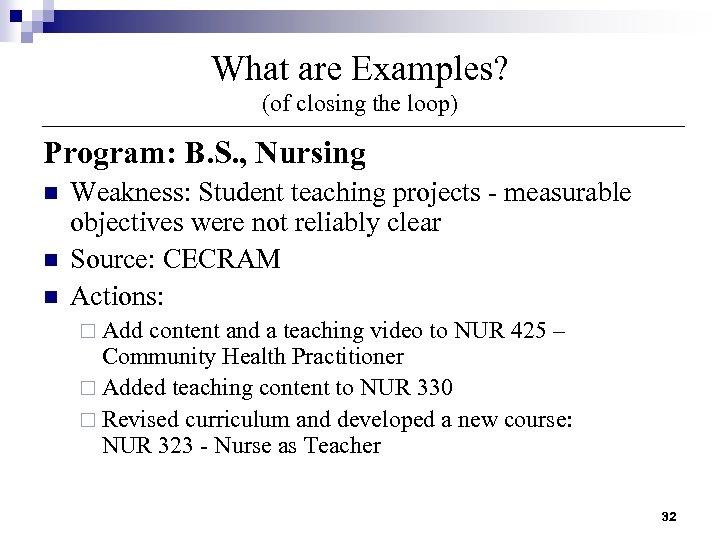 What are Examples? (of closing the loop) Program: B. S. , Nursing n n