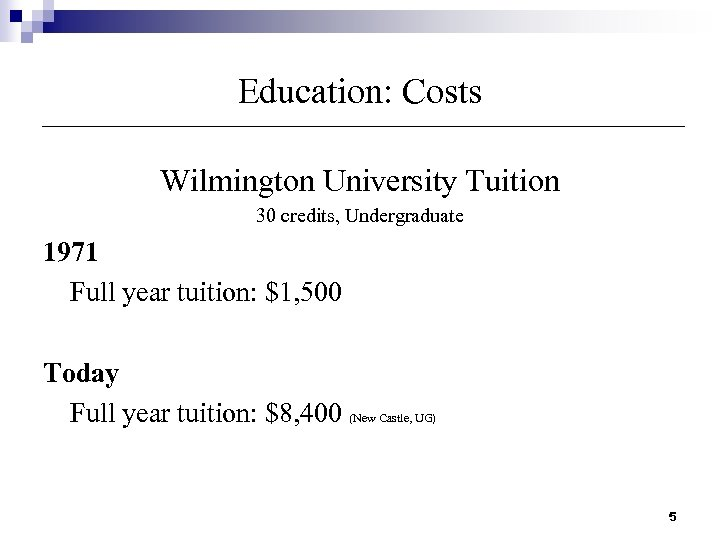 Education: Costs Wilmington University Tuition 30 credits, Undergraduate 1971 Full year tuition: $1, 500