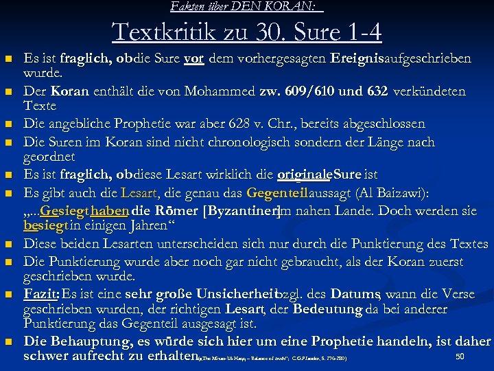 Fakten über DEN KORAN: Textkritik zu 30. Sure 1 -4 n n n n