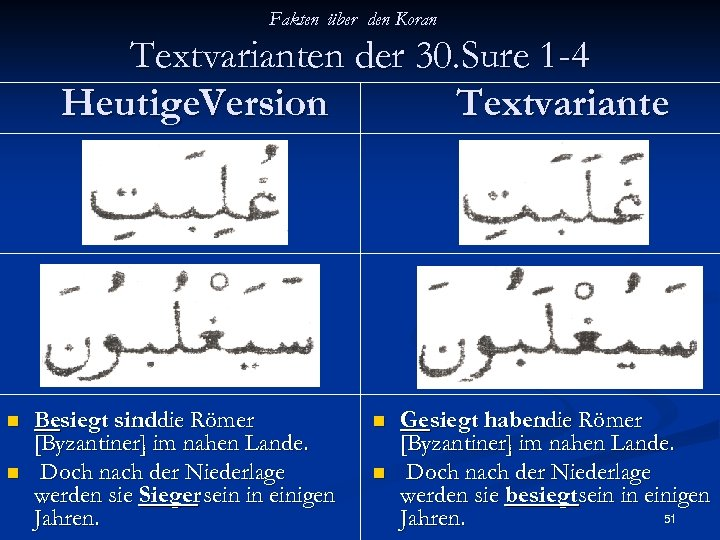 Fakten über den Koran Textvarianten der 30. Sure 1 -4 Heutige. Version Textvariante n