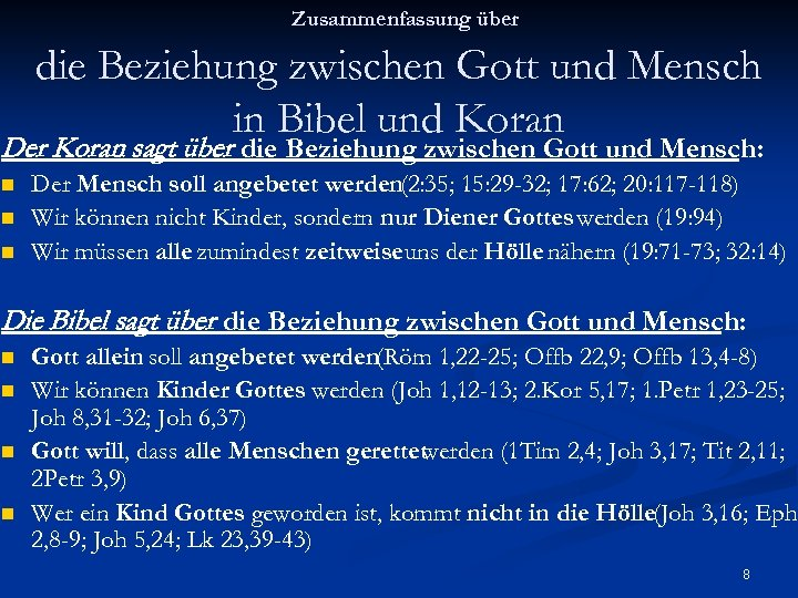 Zusammenfassung über die Beziehung zwischen Gott und Mensch in Bibel und Koran Der Koran