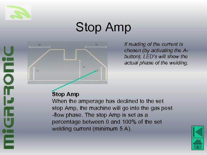Stop Amp If reading of the current is chosen (by activating the Abutton), LED's