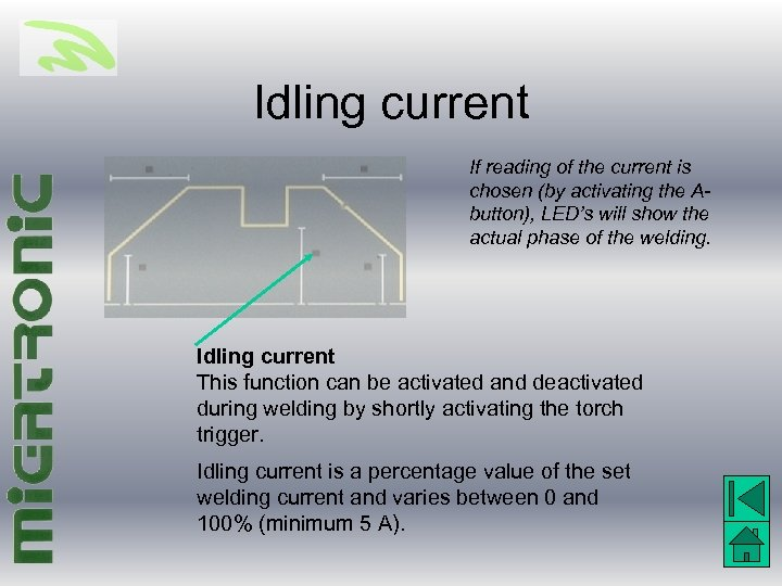Idling current If reading of the current is chosen (by activating the Abutton), LED's
