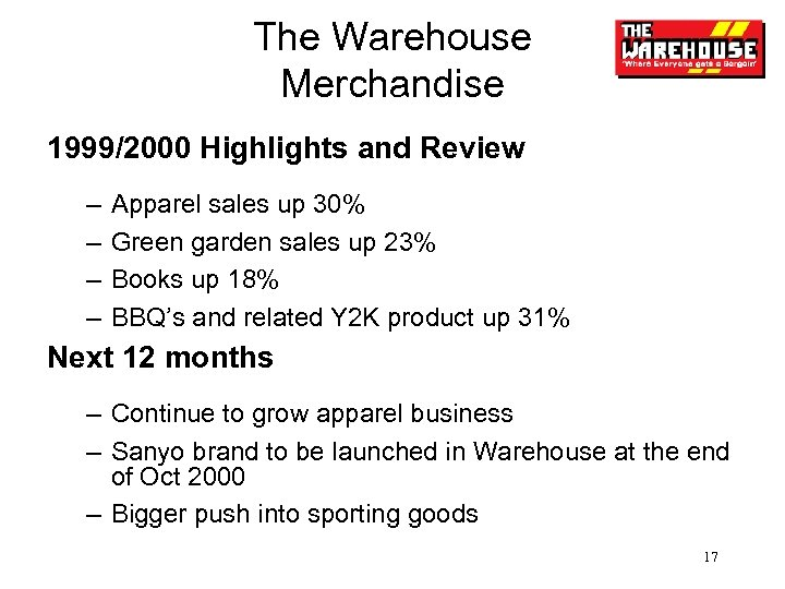 The Warehouse Merchandise 1999/2000 Highlights and Review – – Apparel sales up 30% Green