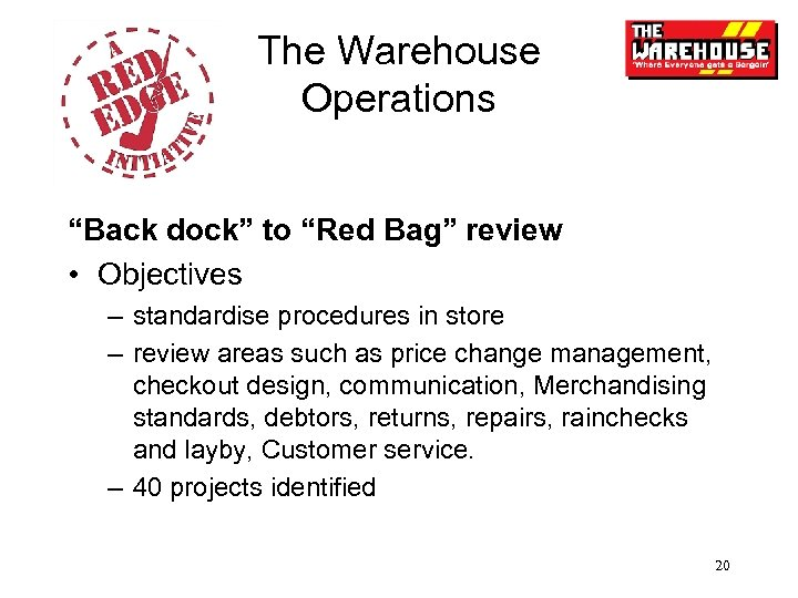 "The Warehouse Operations ""Back dock"" to ""Red Bag"" review • Objectives – standardise procedures"