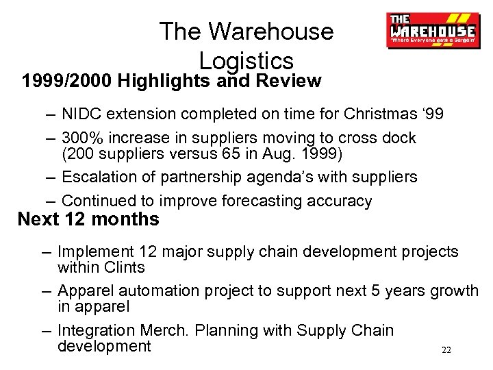 The Warehouse Logistics 1999/2000 Highlights and Review – NIDC extension completed on time for