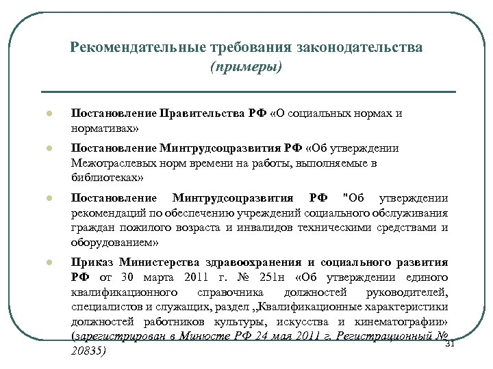 Рекомендательные требования законодательства (примеры) l Постановление Правительства РФ «О социальных нормах и нормативах» l