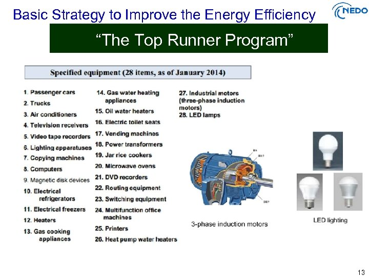 "Basic Strategy to Improve the Energy Efficiency ""The Top Runner Program"" 13"