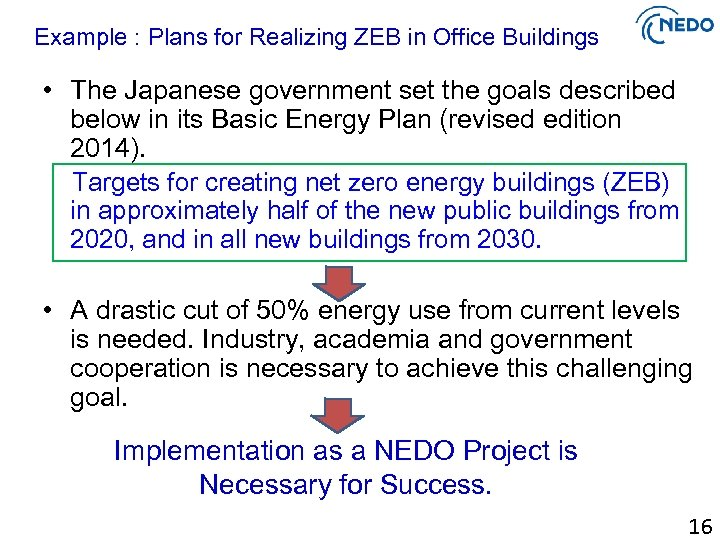 Example : Plans for Realizing ZEB in Office Buildings • The Japanese government set