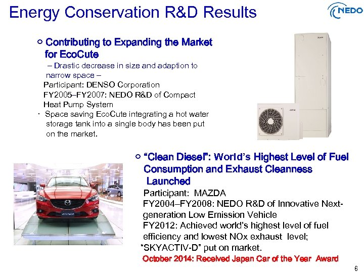 Energy Conservation R&D Results ○ Contributing to Expanding the Market for Eco. Cute