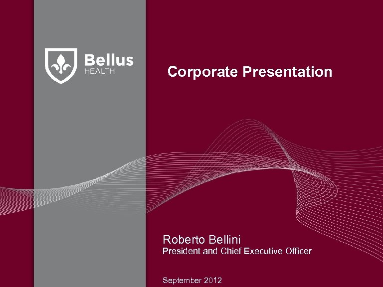 Corporate Presentation Roberto Bellini President and Chief Executive Officer September 2012