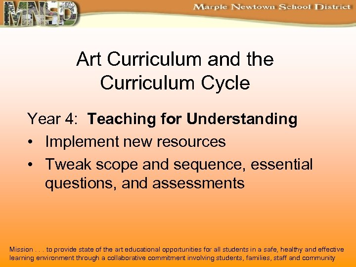 Art Curriculum and the Curriculum Cycle Year 4: Teaching for Understanding • Implement new