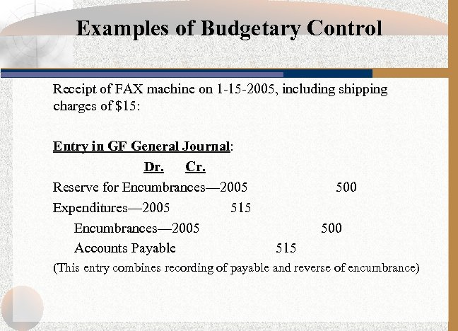 Examples of Budgetary Control Receipt of FAX machine on 1 -15 -2005, including shipping