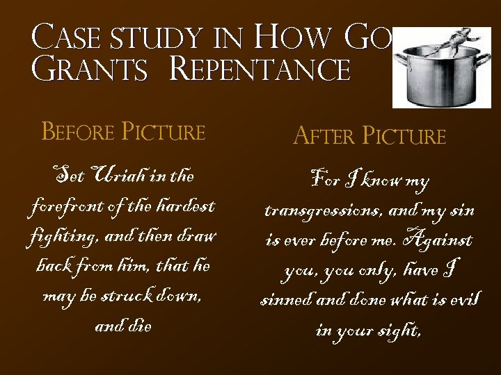 Case Study in How God Grants Repentance Before Picture After Picture Set Uriah in