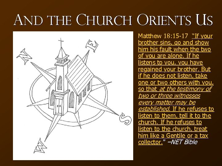 "And the Church Orients Us Matthew 18: 15 -17 ""If your brother sins, go"