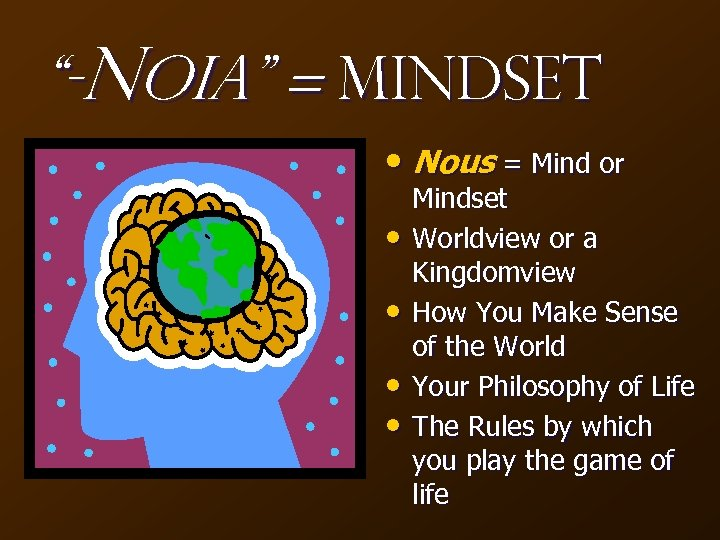 """-Noia"" = Mindset • Nous = Mind or • • Mindset Worldview or a"
