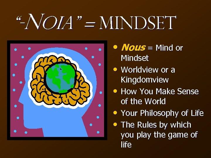 """-Noia"" = Mindset • Nous = Mind or • • Mindset Worldview or a"