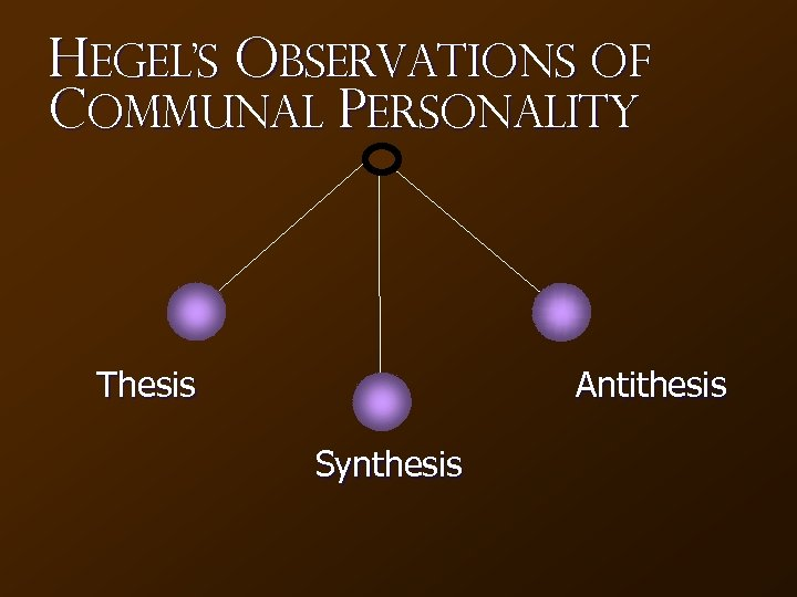 Hegel's Observations of Communal Personality Thesis Antithesis Synthesis
