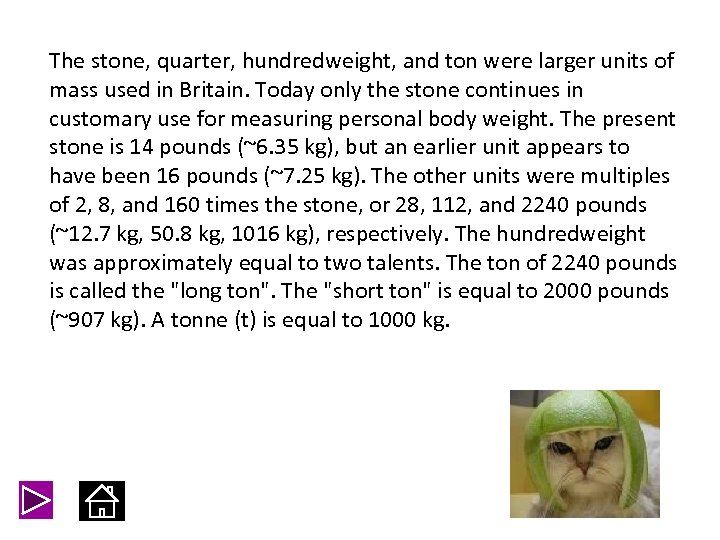 The stone, quarter, hundredweight, and ton were larger units of mass used in Britain.