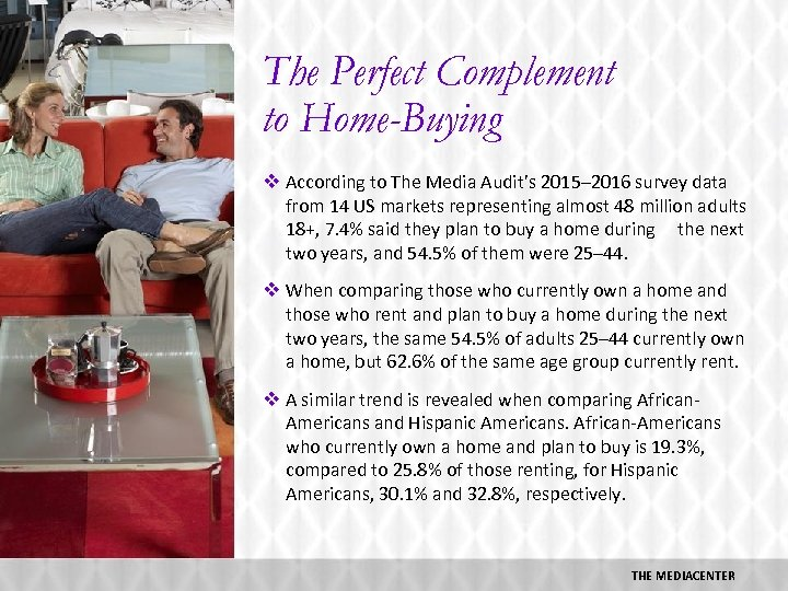 The Perfect Complement to Home-Buying v According to The Media Audit's 2015– 2016 survey