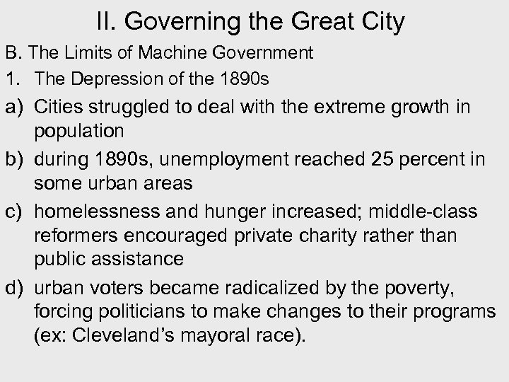 II. Governing the Great City B. The Limits of Machine Government 1. The Depression