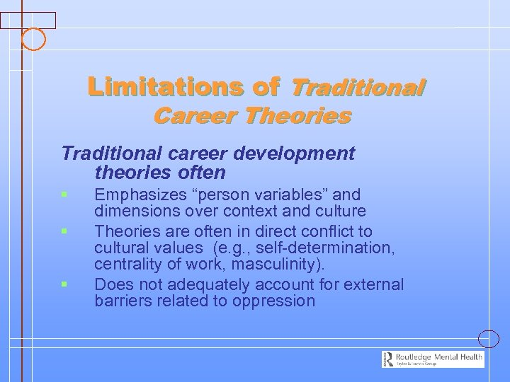 Limitations of Traditional Career Theories Traditional career development theories often § § § Emphasizes