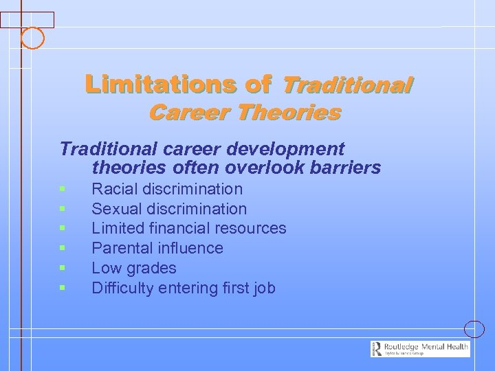 Limitations of Traditional Career Theories Traditional career development theories often overlook barriers § §